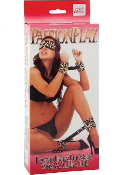 Passion Play Mask, Wrist And Ankle Cuffs Kit Faux Fur Leopard