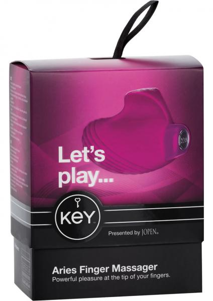 Key Aries Silicone Finger Massager Waterproof Raspberry Pink 2.25 Inch