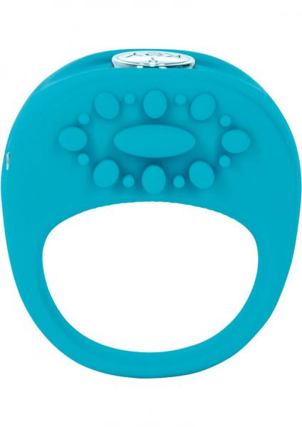 Key Ela Rechargeable Vibrating Silicone Ring Waterproof Robin Egg Blue