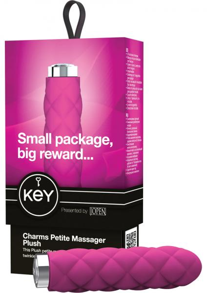 Key Charms Plush Silicone Vibrator Waterproof 3.75 Inch Raspberry Pink