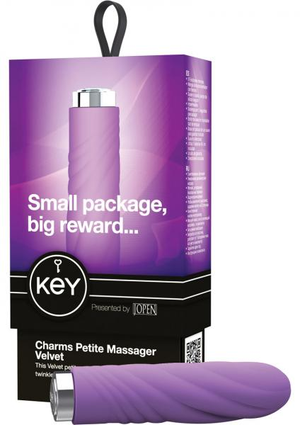 Key Charms Velvet Silicone Vibrator Waterproof 3.5 Inch Lavender