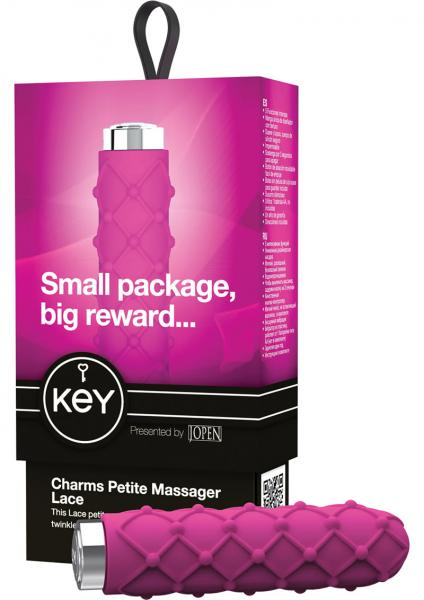 Key Charms Lace Silicone Vibrator Waterproof 3.5 Inch Raspberry Pink