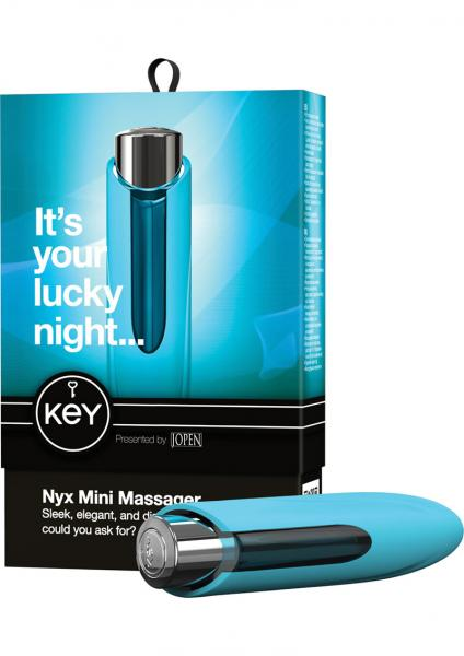 Key Nyx Vibrator Waterproof With Silicone Sleeve 5 Inch Robin Egg Blue