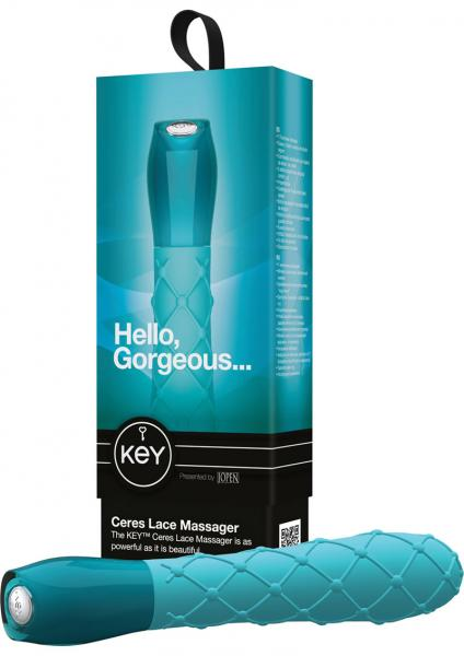 Key Ceres Lace Silicone Vibrator Waterproof 5.25 Inch Robin Egg Blue