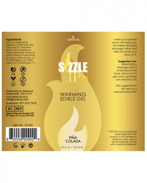 Sizzle Lips Pina Colada Warming Gel 4.2oz