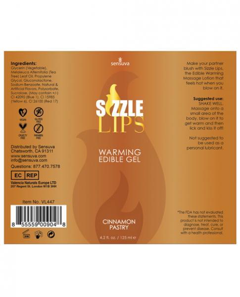 Sizzle Lips Cinnamon Pastry Warming Gel 4.2oz
