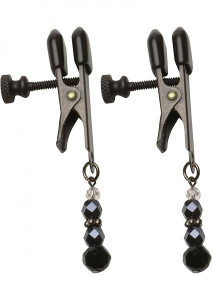 Black Beaded Nipple Clamps With Adjustable Broad Tip Black