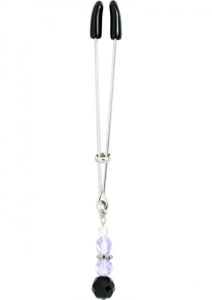 Beaded Clit Clamp With Tweezer Tip Purple