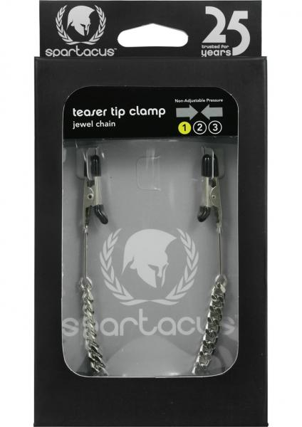 Endurance Teaser Tip Nipple Clamps With Jewel Chain Silver