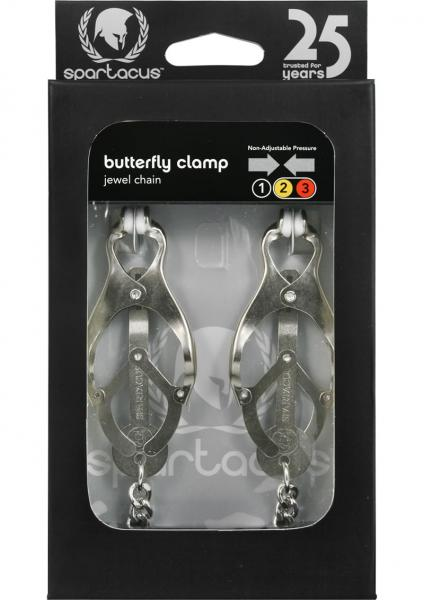 Endurance Butterfly Nipple Clamps With Jewel Chain Silver