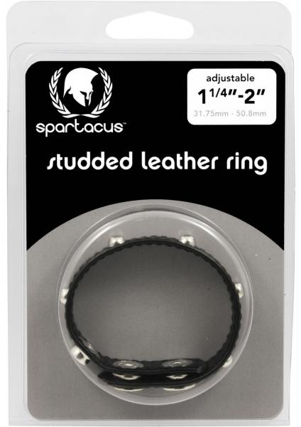 Deco Cock Ring Studded Sewn Garment Leather C Ring With Studs - Black