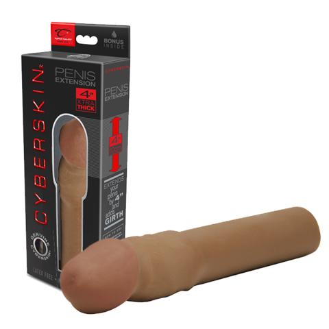 Cyberskin 4 Inch Xtra Thick Transformer Penis Extension - Brown