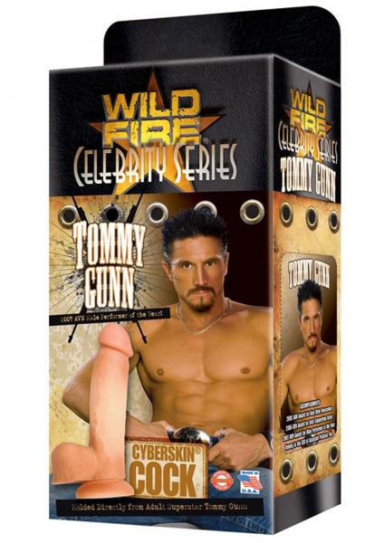Wildfire Celebrity Tommy Gunn Cyberskin Cock Dildo Waterproof 9 Inch Natural