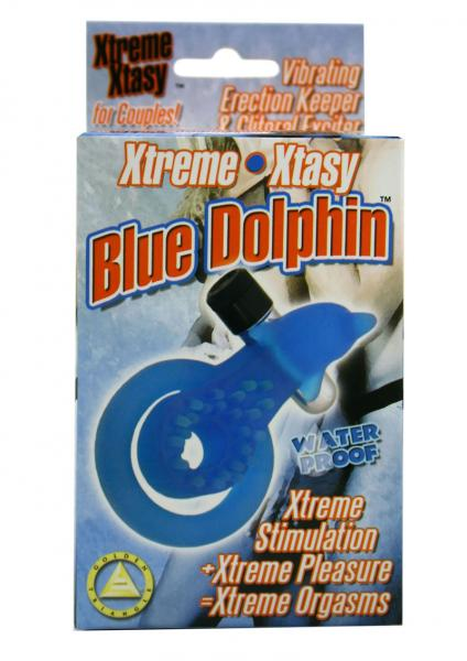 XTREME XTASY BLUE DOLPHIN VIBRATING COCK RING WATERPROOF