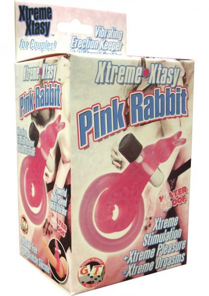 XTREME XTASY PINK RABBIT VIBRATING COCK RING WATERPROOF