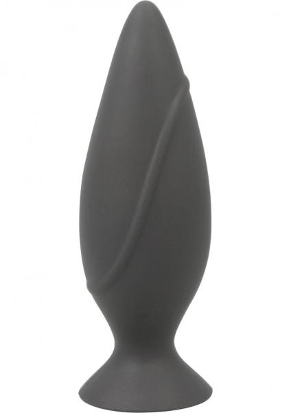 Corked Silicone Anal Plug Small Charcoal