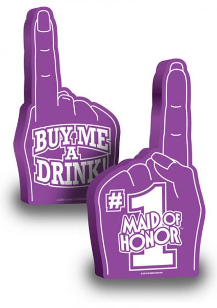 Number 1 Maid Of Honor Foam Finger 18 Inch Purple