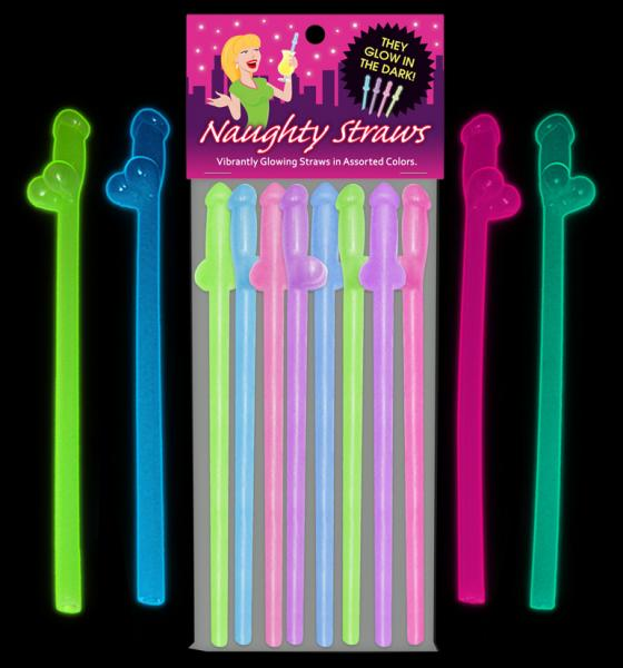 Glow In The Dark Naughty Straws 8 Count