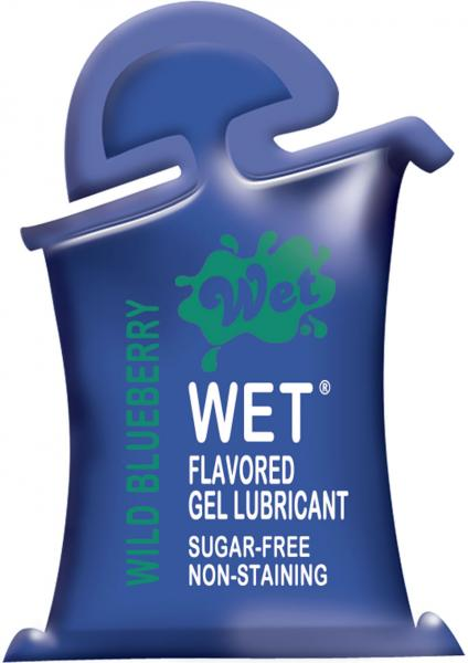 Wet Flavored Water Based Gel Lubricant Wild Blueberry Pillow Packs 72 Piece