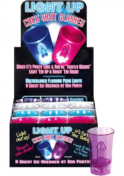 Light Up Cock Shot Glasses 12 Per Display