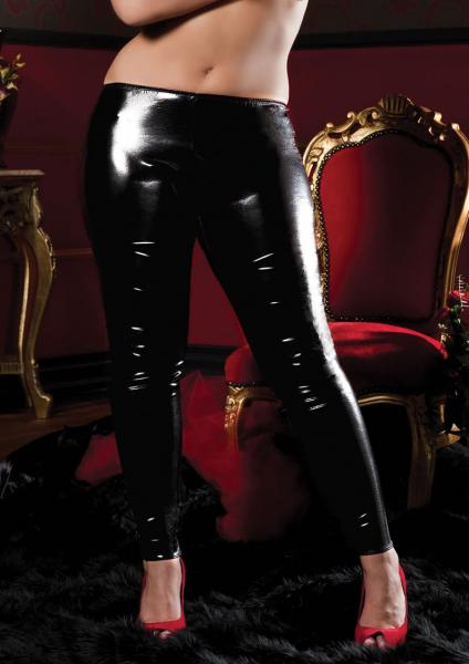 Seven Til Midnight Shiny Stretch Lame Tights Queen Size Black