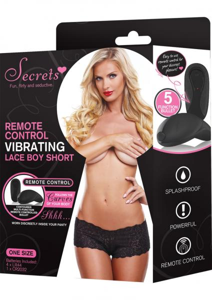Secrets Vibrating Lace Boyshort Black OS