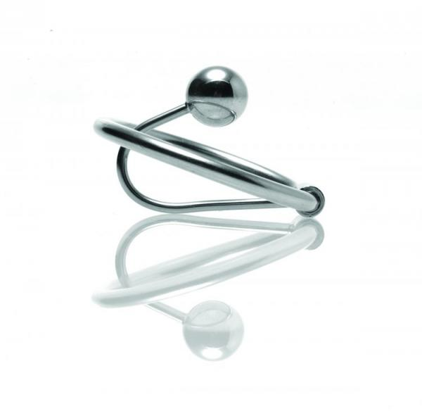 Halo Urethral Plug With Glans Ring Steel Silver