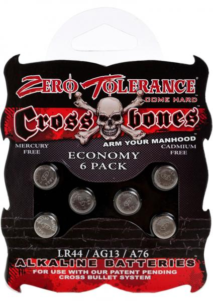 Zero Tolerance Cross Bones Lr44 Batteries 6 Per Pack