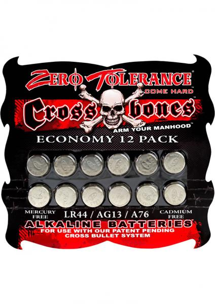 Zero Tolerance Cross Bones Alkaline Batteries 12 Per Pack