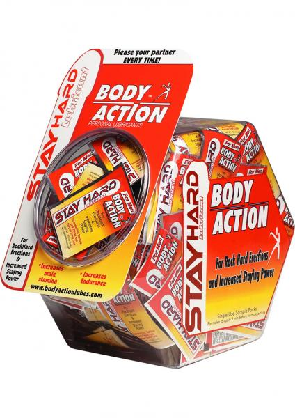 Body Action Stayhard Water Based Lubricant 3cc Foil 250 Per Bowl