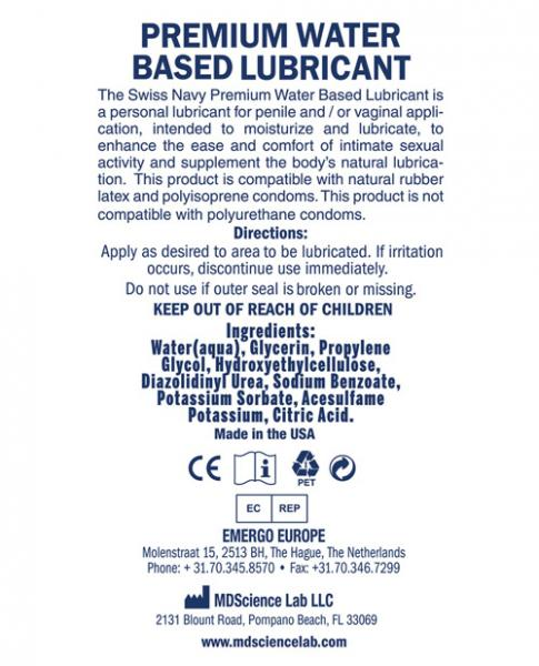 Swiss Navy Water Based Lubricant 32oz