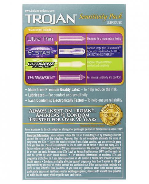 Trojan Sensitivity Pack Latex Condoms Variety Pack 10