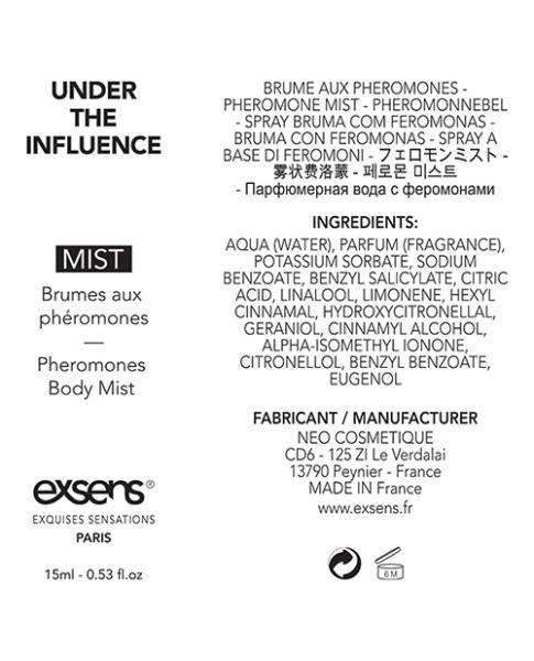 Exsens Of Paris Body Mist With Pheromones Under The Influence .53oz