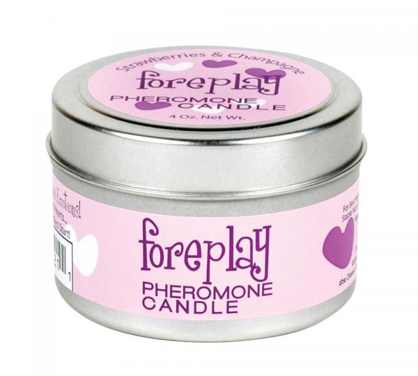 Foreplay pheromone soy massage candle 4 oz strawberries & creme