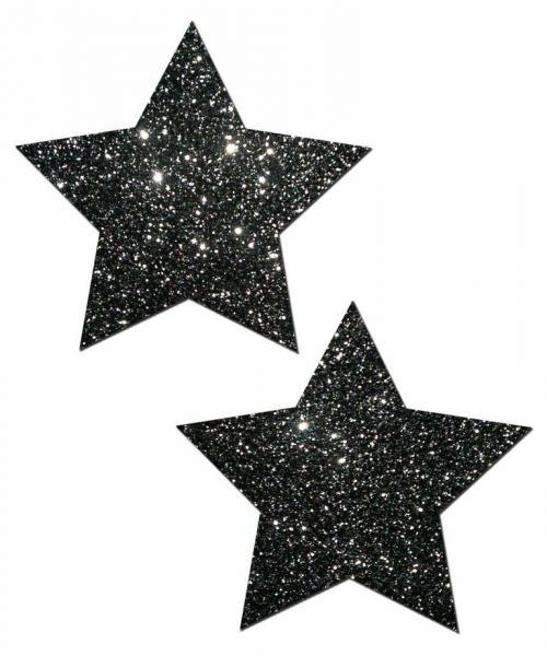 Rockstar Black Glitter Star Pasties O/S