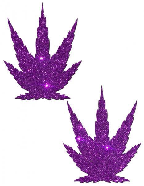 Leaf Royal Purple Glitter Pasties O/S