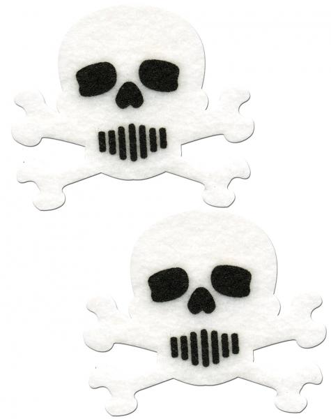 Skull Crossbones White Black Pasties O/S