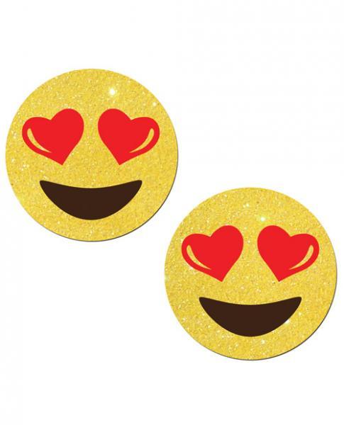 Yellow Glitter Emojis with Heart Eyes
