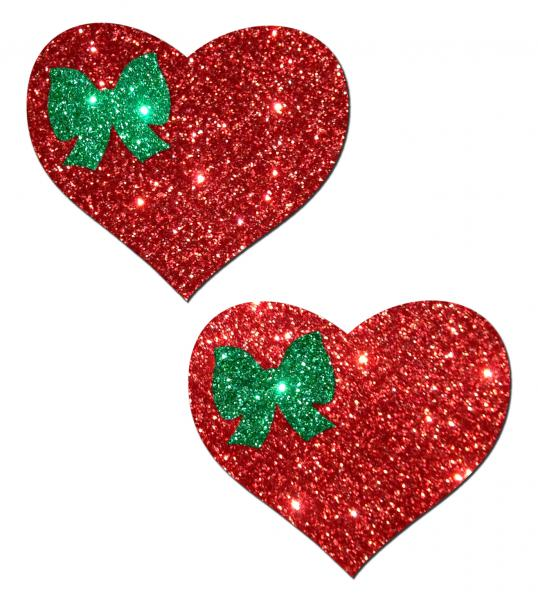 Glitter Red Heart Green Bow Pasties