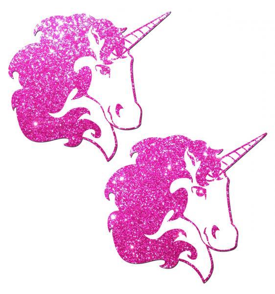 Unicorn Hot Pink Glitter On White Pasties O/S
