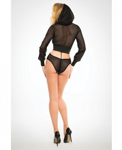 Adore Fishnet Bodysuit Hoodie & Cut Out Back Black Lg