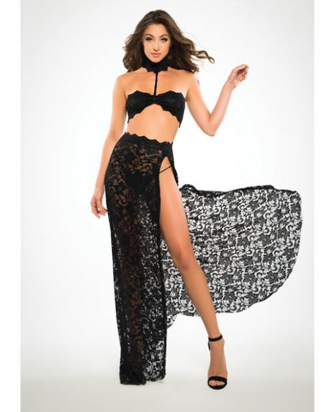 Adore Lace Bandeau Top & Skirt Black Medium