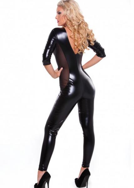 Kitten Wet Look & Mesh Catsuit Black O/S