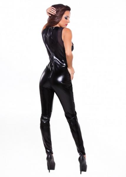 Kitten Wet Look & Mesh Catsuit Black O/S