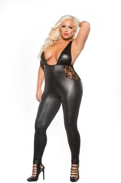 Kitten Lace Wet Look Catsuit Black One Size Queen