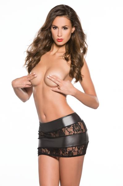 Kitten Lace Wet Look Skirt Black O/S