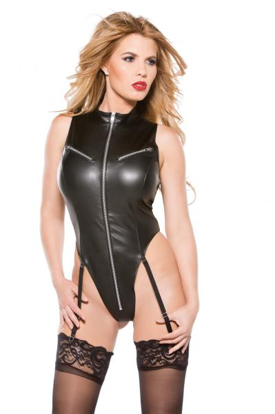 Faux Leather Teddy Black Large