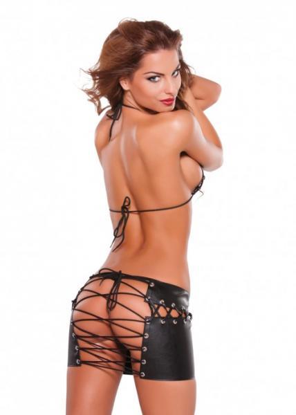 Faux Leather Lace Up Skirt & Bra Set Black OS