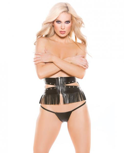 Faux Leather Underbust Waist Cincher & G-String Black O/S