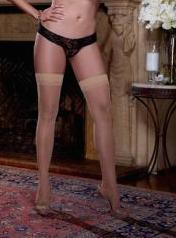 Sheer Thigh High W/Back Seam Nude Qn